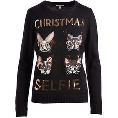 self esteem clothing Jet Black 'Christmas Selfie' Sweater & Pom-Pom... (77 ILS) ❤ liked on Polyvore featuring tops, sweaters, pom pom sweaters, ugly holiday sweater, pom pom christmas sweater, ugly sweater and pom pom tops