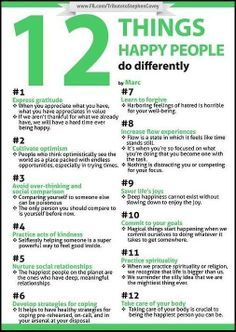 12 Things Happy People Do Differently -- Which of these will you commit to in 2014?
