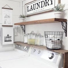 55 laundry room decoration models that inspire you to remodel your laundry room - Houz on kinal. Laundry Room Wall Decor, Laundry Room Shelves, Laundry Room Remodel, Farmhouse Laundry Room, Small Laundry Rooms, Laundry Room Design, Room Decor, Vintage Laundry Rooms, Laundry Closet