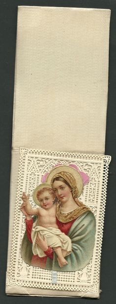 """Superb Old Holy Card Lace """" Holy Mary and Jesus Child"""" with System"""" Color 
