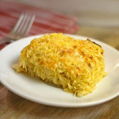 Cheesy Spaghetti Squash Casserole. A lighter and nutrient-rich alternative to cheesy hashbrown casserole!