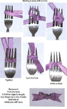 make a bow with ribbon with help of a fork