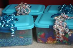 sensory bin ideas - Know somebody with little ones or a classroom in need . what a wonderful gift - On the Go Sensory Bins! Sensory Tubs, Sensory Boxes, Sensory Activities, Sensory Play, Toddler Fun, Toddler Preschool, Discovery Bottles, Preschool Science, Tot School