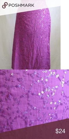 French Connection Purple Cotton Sequin Skirt Sequin Straight Skirt  Invisible Side Zipper  Lined  Waist 29, Hips 38 and Length 28  100% Cotton  Dry Clean   Please let me know if you have any questions.  Thank you for looking!!!!!!! French Connection Skirts