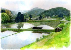 水彩画 心のしみる日本の風景