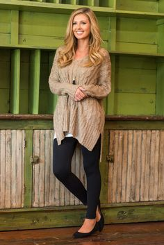 """I'm By Your Side Sweater, Taupe""This warm sweater will always be by your side which is exactly where you want it! We love how long it is and how great it looks with leggings or jeans!  #newarrivals #shopthemint"