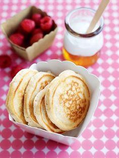 #Breakfast for Lunch! Mini-pancakes + honey. #pancakes