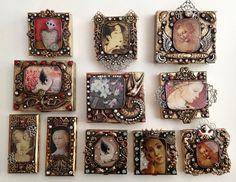 Diana frey technique/ I want them all Polymer Clay Jewelry, Resin Jewelry, Jewelry Crafts, Jewelry Art, Beaded Jewelry, Vintage Jewelry, Handmade Jewelry, Jewelry Design, Unique Jewelry
