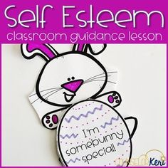 This Easter or spring time themed elementary school counseling classroom guidance lesson is perfect for exploring self esteem! Students read and practice positive affirmations and make a craft to create their own affirmations or identify reasons why they are unique or