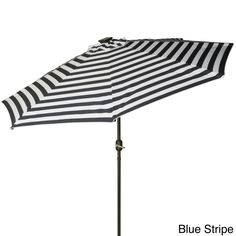 Trademark Innovations Deluxe 9-foot Solar-powered LED Lighted Patio Umbrella (Large-Blue Stripe), Blue (Aluminum)
