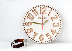 #vintage #clock #beige colour http://nuwzz.com/product/wall-clock-paris-free-shipping-vintage-style-clock-made-out-of-salvaged-oak-carved-face-ivory-color-edition-personalisation/