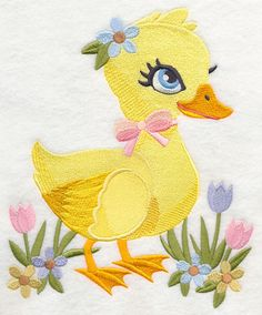 Sweet Spring Duckling with flowers embroidered quilt block