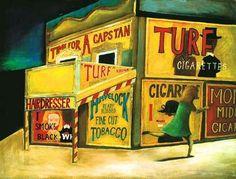 The Cigarette Shop (Running Home) by Charles Blackman Australian Painters, Australian Artists, Alice In Wonderland Series, Arthur Boyd, Henry Thomas, Colorful Paintings, Printmaking, Illustrators, Modern Art