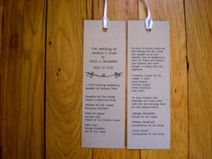 Literary Wedding Bookmark Program / Wedding by theBirdandtheBeard