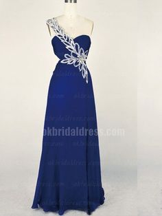 cheap navy blue one-shoulder long prom dress | Cheap prom dresses Sale