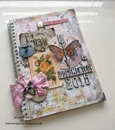 It's A New Year ~ Simon Says Stamp Monday Challenge Altered Book Cover created using Tim Holtz products