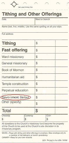 Tithing and Other Offerings Slip showing new donation category