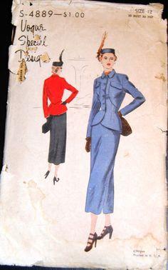 Vintage Original Vogue Special Design 40's Suit Pattern No. S-4889