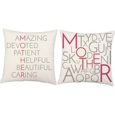 Mother Acrostic Throw Pillows ~ the perfect way to tell your mother all the things you love about her!