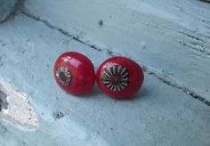 Red Fused Glass Stud Earrings by PiecesofhomeMosaics on Etsy, $13.00
