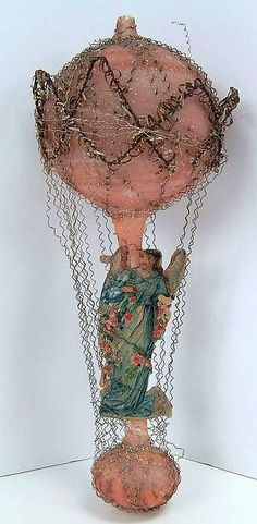 Antique Victorian Wire Wrapped Balloon Angel Sebnitz Christmas Ornament Germany.