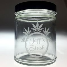 Personalized 5 Leaf Stash jar by MJstash on Etsy