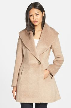 Trina Turk 'Bonnie' Shawl Collar Skirted Coat (Regular & Petite)