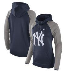 Women's New York Yankees Nike Navy/Heathered Gray Performance Pullover Hoodie