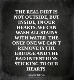 The real dirt is not outside, but inside, in our hearts. We can wash all stains with water. The only one we can`t remove is the grudge and the bad intentions sticking to our hearts. ~Shams Tabrizi