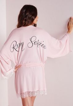 Room Service Slogan Dressing Gown Pink - Nightwear - Dressing Gowns - Missguided
