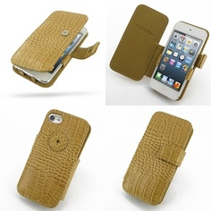 PDair Leather Case for Apple iPod Touch 5th Generation - Book Type (Brown/Crocodile Pattern)