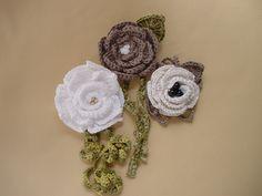 Crocheted Pin/Corsage/Brooch by AnneetaMade, via Flickr