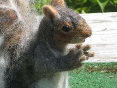 Needle Felted Animal / Squirrel Large Sculpture by Fiber Artist GERRY Poseable. $300.00, via Etsy.