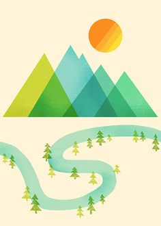 the style and simplicity in this illustration is nice. I like the overlap of colors which creates a neat spectrum of greens and blues in the mountains