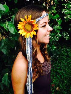 $24 Blue White Yarn Braid Gold Sparkle Ribbon, Gypsy Halo, Silk Sunflower, Hair Accessory, Headpiece, EDC, Vintage, Handmade, Festival Fashion
