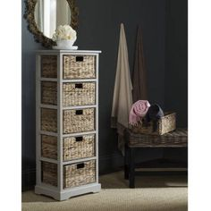 Safavieh Vedette 5 Wicker Basket Storage Tower, Gray