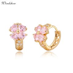 Gold Plated Lucky Four Heart Leaf Clover Pink / Purple / Blue Crystals Huggies Small Hoop Earrings For Women Kids Girls Jewelry //Price: $8.48 & FREE Shipping //     #hairextension #style #beauty #woman #love