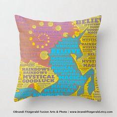 Unicorn Pillow  Believe in the Unicorn Throw by BrandiFitzgerald, $34.99  goodthinkinc.com