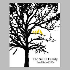 Family Established Personalized Print - 11x14 - Birds in a Tree - Your Choice of Colors, Names, and Date - GREAT GIFT on Etsy, $25.00