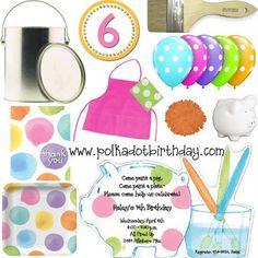 Polka Dot Birthday Supplies, Decor, Clothing: Polka Dot Pottery Painting Party