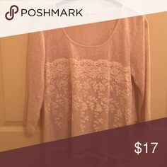 EUC. Oatmeal sweater with lace. EUC. Size M but fits S. About A Girl brand. Oatmeal with cream lace. So pretty. About A Girl Sweaters Crew & Scoop Necks