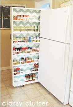 Got a few extra inches on the side of your fridge and you don't know how to fill it?  Build your own rolling canned food organizer