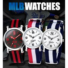 MLB Official LA Texas NY Boston Nato Band Wrist Watch_36 options #MLB