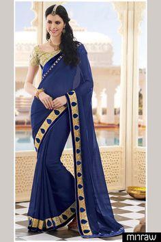 Beautiful blue georgette saree