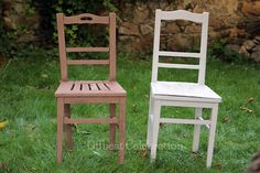 Chairs made over using Broken White & Chestnut Brown Pinty Plus chalk paint spray