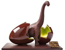 Have a Jurassic Paques, Bite a Chocolate Dinosaur, Happy Easter! Chocolate Work, Chocolate Coins, Chocolate Desserts, Chocolate Shapes, Easter Chocolate, Christophe Roussel, Chocolate Showpiece, Food Sculpture, Easter Egg Designs