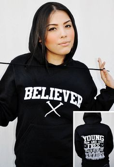 BLACK-BELIEVER/YOUNG AND FREE-UNISEX HOODIE by JCLU Forever Christian t-shirts $34.99