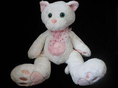"Chosun JcPenney Kitty Cat White Pink Plush Soft Toy Polka Dot Bow  15"" Stuffed  #Chosun"