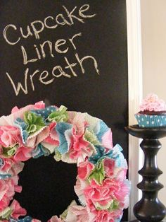 A cheerful wreath from cupcake liners