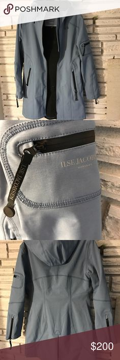 Ilse Jacobsen Rain Coat - silvery blue waterproof. This jacket brings on the complements! Wonderful shape and beautiful silver tinted blue. Waterproof. Perfect for rainy weather. Bought from a high end boutique last year and now it is too small for me 😞 Ilse Jacobsen Jackets & Coats